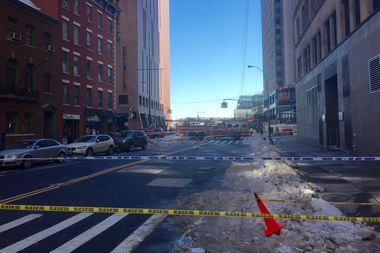 Broad Street, between Pearl and Water Streets, was closed because of ice falling from 104 Broad St.