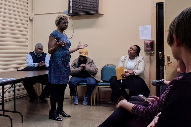 Ede Fox, left, speaks to a group of Crown Heights residents at a meeting held in February regarding the Bedford-Union Armory redevelopment. Fox is fundraising to challenge Councilwoman Laurie Cumbo for the 35th District council seat, but has not yet officially declared her candidacy.