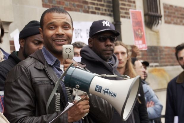 City Council candidate Jabari Brisport speaks at a recent protest of the Bedford-Union Armory redevelopment.