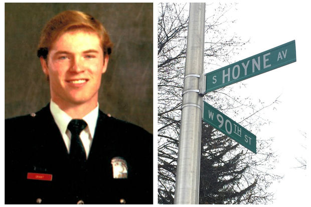 A sign dedicating the intersection of 90th Street and Hoyne Avenue to fallen firefighter William F. Grant will be installed as part of a ceremony at 2:30 p.m. Saturday in Beverly.