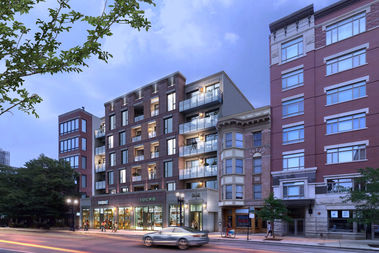 A rendering of the proposed 50-unit apartment at 1435-43 N. Wells St.