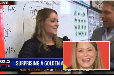 Sarah Faller of Burr Elementary is interviewed by Fox32's Jake Hamilton after he surprised her with the news.