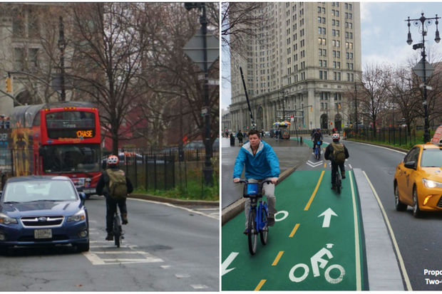 A before shot and after (rendering) view of the Centre Street/ Park Row bike lane