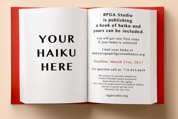 The Rego Park Green Alliance Studio wants local residents to write haikus that will later be published in a free book.
