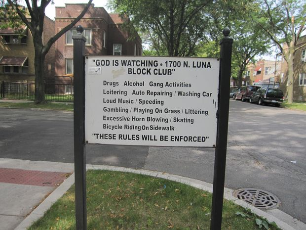 Signs of Block Clubs all over Chicago