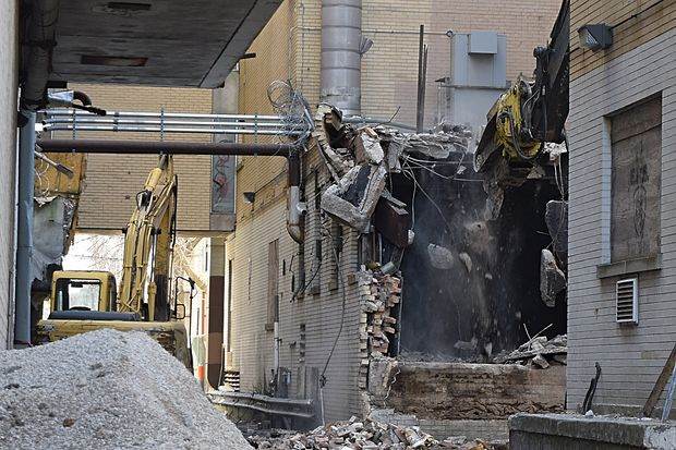 The demolition process for the hospital buildings at the former Edgewater Medical Center is underway.