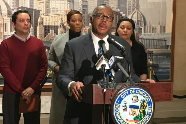 Ald. Howard Brookins (21st) holds a City Hall press conference in March.