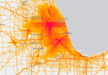 A Noise Map By The National Bureau Of Transportation Statistics Shows The Chicago Area