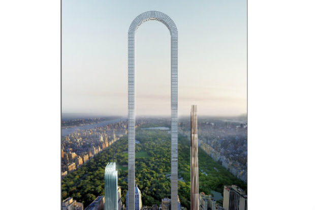 Conceptual renderings show arched skyscraper looming over for Latest arch designs