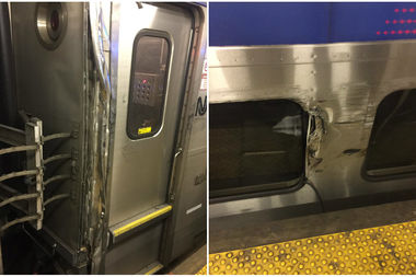 A passing NJ Transit train scraped against the derailed Acela, officials said.