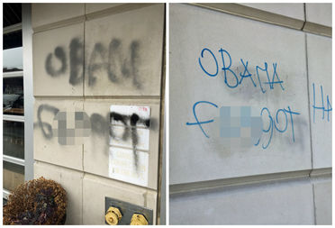 Left: the graffiti message that was spray painted at 31-19 Newtown Ave. on Sunday. Right: the message that was written on March 20.