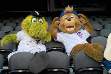 Southpaw, the White Sox mascot, hangs out with Clark, the Cubs' bear.