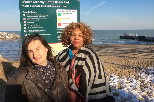 Rogers Park resident Florence O'Donnell (left) and caseworker Bettye Dorsey near O'Donnell's beachfront condo.
