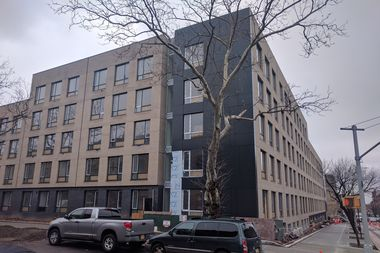 The city plans to open a shelter facility for 132 families in this newly constructed building on Rogers Avenue and Carroll Street in Crown Heights, the Department of Homeless Services said.