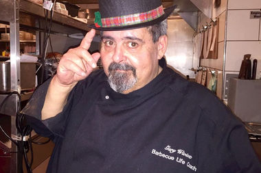 Gary Wiviott, pitmaster at Barn & Company, pairs bacons with Lagunitas beers Wednesday night.