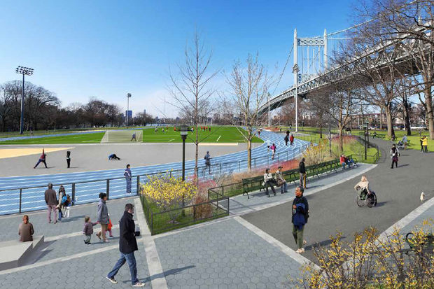 A rendering of how Astoria Park will look after a $13.5 million improvement project.
