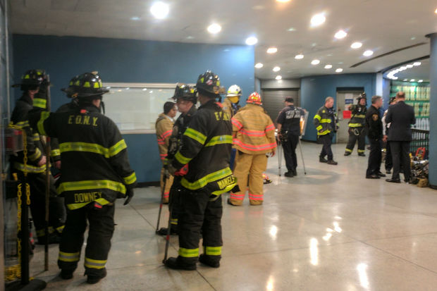 The train derailed in the transit hub about 9 a.m., officials said.