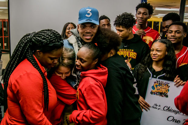 """Saying the """"arts are essential,"""" Grammy Award winner Chance the  Rapper announced Friday that he was creating a new $2.2 million fund to save programs at Chicago schools hardest hit by budget cuts."""