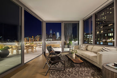 The sun room for a $25 million penthouse at One Van Dam, at 180 Sixth Ave., listed by Stribling.