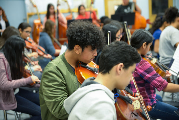 Classical radio station WQXR donated 38 instruments to the students at an East Elmhurst middle school.