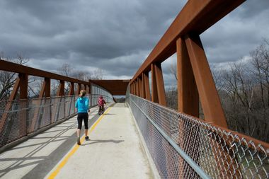 Travelers on the first phase of the North Branch Trail extension in Edgebrook, opened in 2016.
