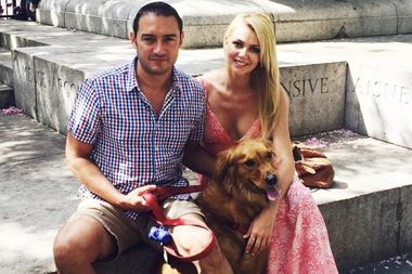 Joanna Bickley, with her husband, Jason, and dog, Jack. The couple recently moved out of their apartment East of Madison Square Park, where they're sitting, to a quieter one west of the park.