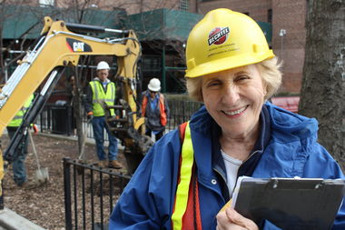 Urban archaeologist Joan Geismar conducted a dig at NYCHA's Gowanus Houses on Wednesday as part of NYCHA's Sandy Recovery Program.