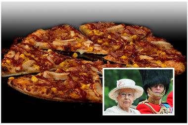 A British pizza with corn. No word on whether it's the queen's fav.