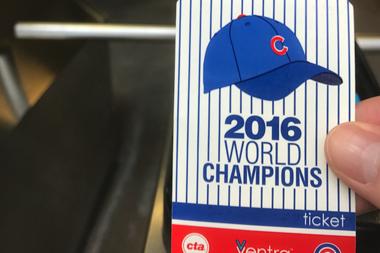 A Cubs Ventra ticket.