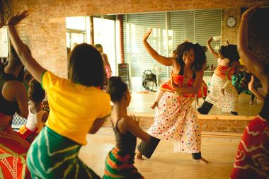 Karisma Jay, right, leads a dance class at her studio in Prospect-Lefferts Gardens.