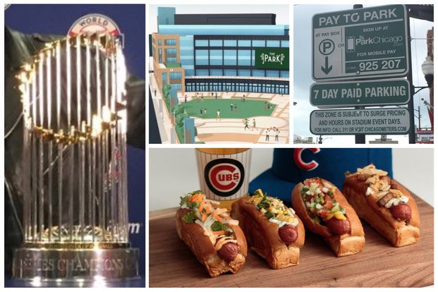 The World Series championship trophy, the Park at Wrigley, surge prices and toppings-loaded hot dogs are among new things at Wrigley Field this season.