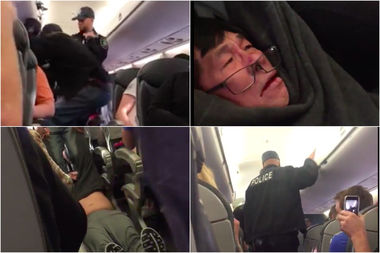 One man was dragged off United flight 3411 Sunday night after the airline made four passengers get off the plane when no one volunteered to leave.