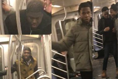 Police released four men they say were involved in an assault on a northbound J train, in which a 29-year-old was bludgeoned in the head with a hammer.