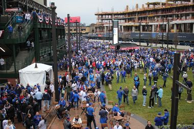 Fans packed the new Park at Wrigley, lining up outside the new western gate to get into the ballpark ahead of Monday's home opener.