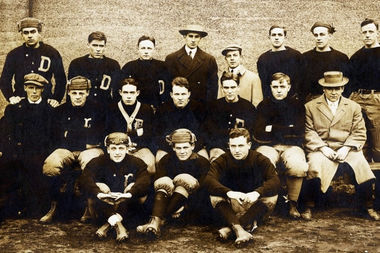 The 1912 DePaul varsity football team included Joe Ward (front row, center) and his brothers Cyril and Albert (middle row, far left). Albert didn't survive the Great War.