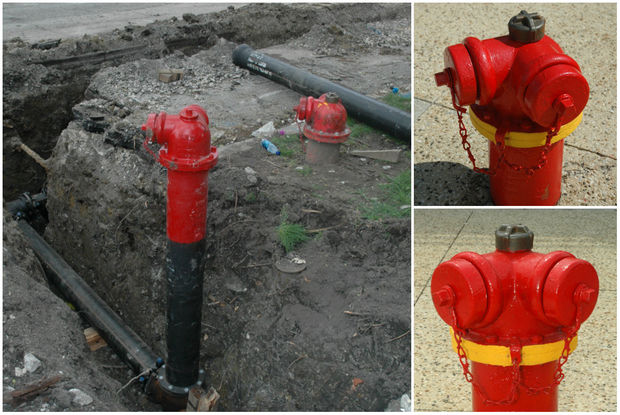 Two shots of newly painted hydrant with a yellow collar.  (Large photo) A new fire hydrant is installed next to the existing hydrant, but is supplied by the new water main. The old hydrant will be removed after the new main and hydrant are placed in service. The old hydrant will be refurbished, and placed back in service in a new location.