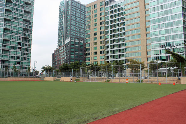 The Queens West Sports Field at Gantry Plaza State Park.