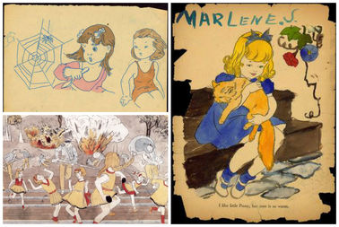 A few works from a massive body of work by posthumously famous artist Henry Darger.