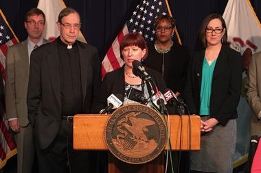 State Sen. Kelly Cassidy( D-Edgewater) discusses her bill to legalize marijuana in Illinois