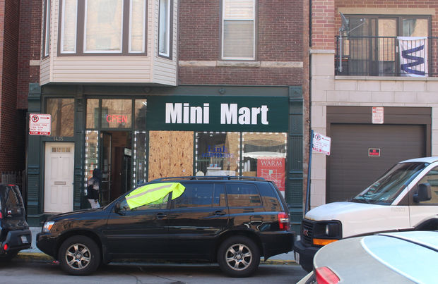 Three people were wounded in a drive-by shooting in front of the Green Apple Mini Mart, 1435 N. Sedgwick St., Tuesday.