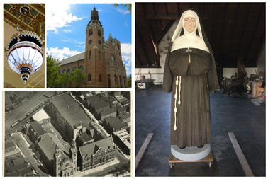 A statue of Mother Mary Theresa Dudzik ,to be unveiled after an April 23, 2017 Jubilee Mass. And scenes old and new of St. Stanislaus Kostka Church .