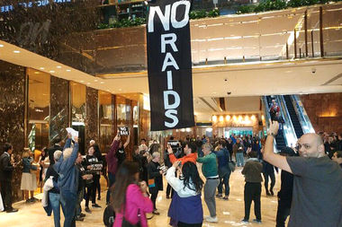 Dozens of protesters were arrested at Trump Tower in April after unfurling giant pro-immigrant banners inside the skyscraper's lobby.