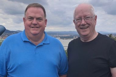 The Rev. James Donovan (left) will replace the Rev. William Malloy as pastor of St. Barnabas July 1. Malloy is retiring but plans to continue to serve the parish as pastor emeritus.