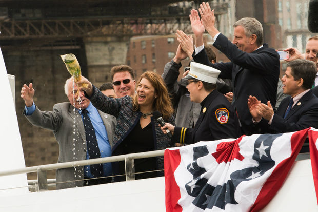 Deputy Mayor Alicia Glen christened Lunch Box, one of the new boats for the NYC Ferry, on Monday, April 17, weeks before its launch on May 1.