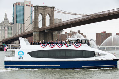 The 'Lunch Box' rides into Pier 1 at Brooklyn Bridge Park as it takes an inaugural ride April 17, 2017.