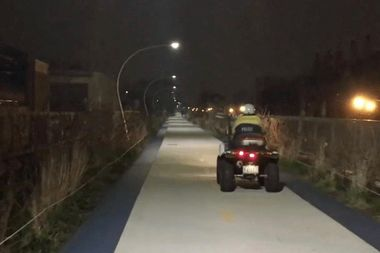 A police office users an ATV to patrol The 606 last Thursday night.