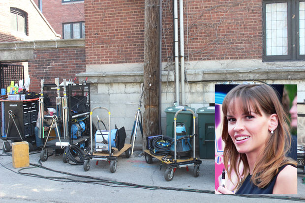 A movie starring Hilary Swank that's been filming in Hyde Park all month is expected to wrap Tuesday.