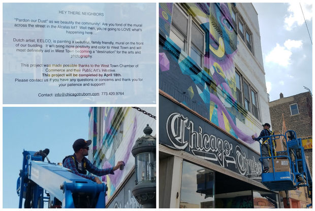 Dutch artist EELCO works on a mural on Saturday, at top left is a letter posted to neighbors seeking more information.