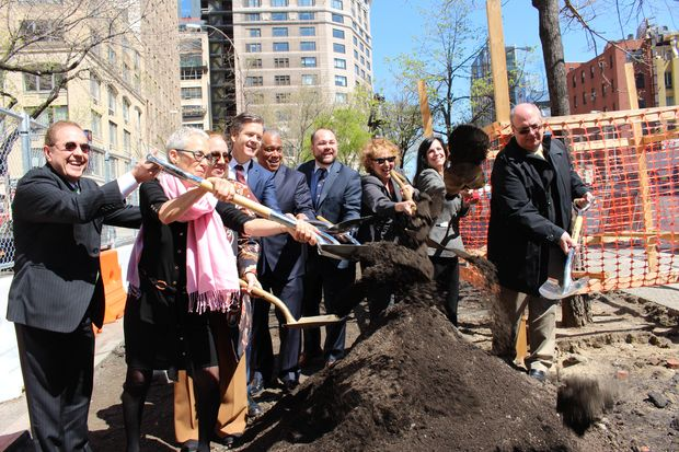 Officials on Tuesday broke ground at the upcoming Spring Street Park at Sixth Avenue and Spring Street.