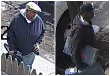 Police are looking for two men who stole more than $5,000 worth of equipment from a van parked on a street in Queens earlier this month.